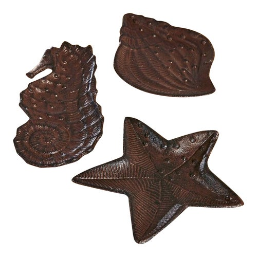 Seahorse Starfish Seashell Ocean Figurines Trinket Dishes Set of 3 Cast Iron