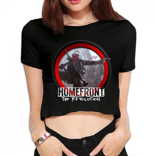 Homefront The Revolution 2016 Logo Women's Bare Midriff Sexy T-Shirts Midriff-baring Crop Top Shirt