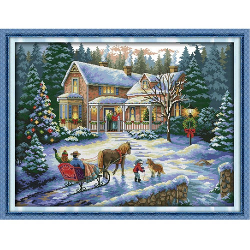 Anself 57*44cm DIY Handmade Counted Cross Stitch Needlework Set Embroidery Kit Christmas Scenery Home Decoration 14CT