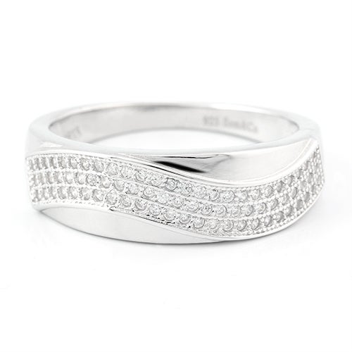 Solid .925 Sterling Silver w/18k White Gold 0.75ct AAA Grade Italian CZ's Men's Wedding Band Ring Glamlil119
