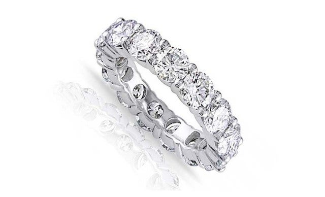 Stunning 18Kt White Gold Plated Cz Eternity Band