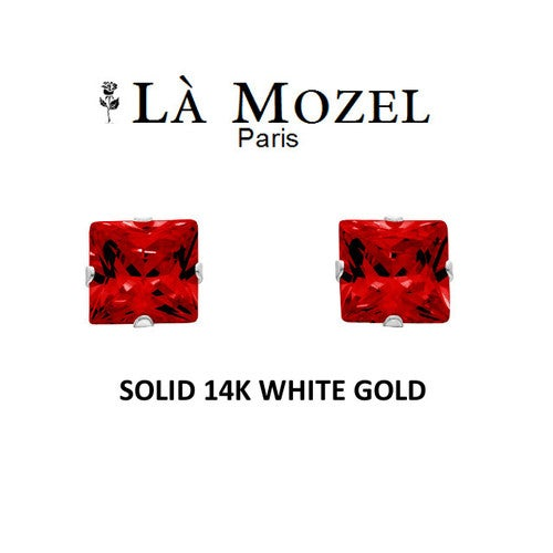 Luxury Solid 14K White Gold Classic Elegant HandCrafted Princess Cut Stud Earrings Featuring Genuine Red Stone- 4MM