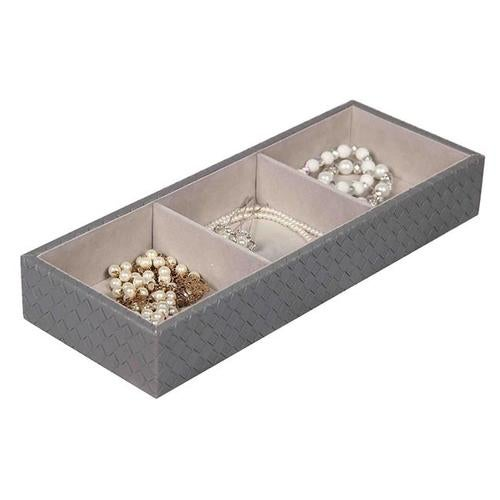 Home Basics DR49341 3 Compartment Jewelry Organizer, Charcoal Gray
