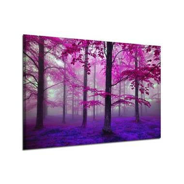 Frameless Wall Art Oil Painting  Purple Forest Home Decor