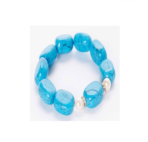 Genuine Freshwater Pearl and Reconstituted Turquoise Bracelet
