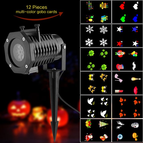 LED Projector Light White Lawn Light Landscape Light with 12pcs Colorful Gobo Slides for Xmas Birthday New Year Halloween Party Holiday AU/UK/US/EU Plug