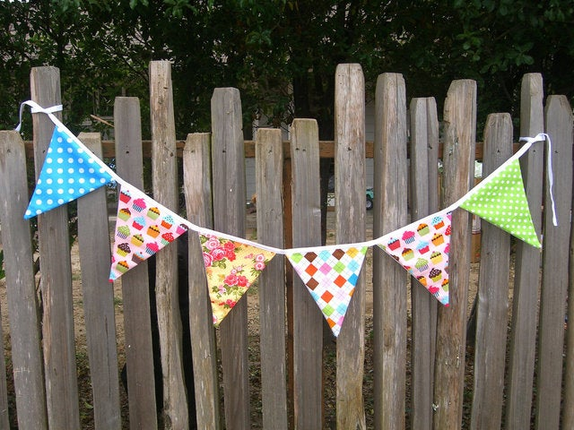 fabric bunting banner pink cupcakes birthday en tophatter