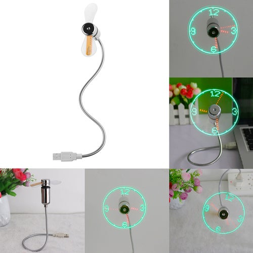 Flexible Portable USB LED Clock Fan for PC Laptop Notebook