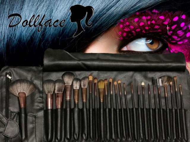 Dollface 24 piece deluxe professional brush set clip & travel wrap