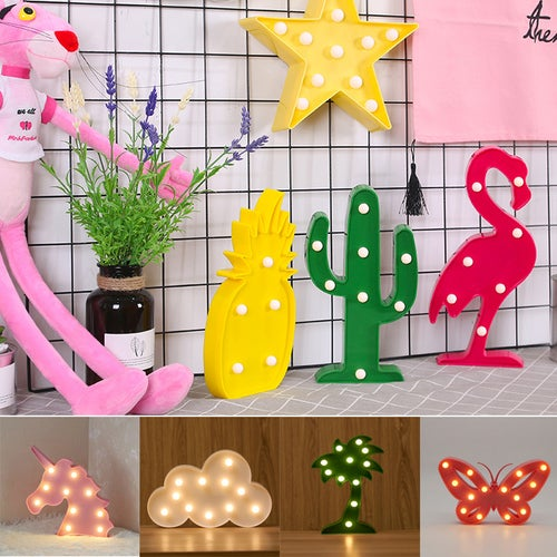 3D Luminaria LED Flamingo Night lights Cactus Cloud Star Table Lamp Novelty LED Marquee Sign kids Gifts Home Xmas Decor Lights
