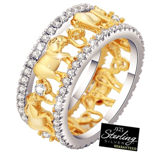 Luxurious 925 Sterling Silver Lucky 3D Elephant Ring Romantic Zircon Ring For Man/Woman Jewelry