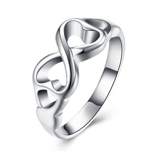 Hollow Heart Ring Silver Plated Wedding Bands Engagement Gift Fashion Jewelry Sets For Women Lady R092-8