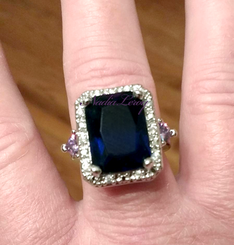 Stunning 9 ct Sapphire & Amethyst Sterling Silver 925 Cocktail Ring