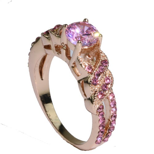 Vintage Braid Rose Gold Filled AAA Pink CZ Women Wedding Engagement Ring Luxury Look #1010