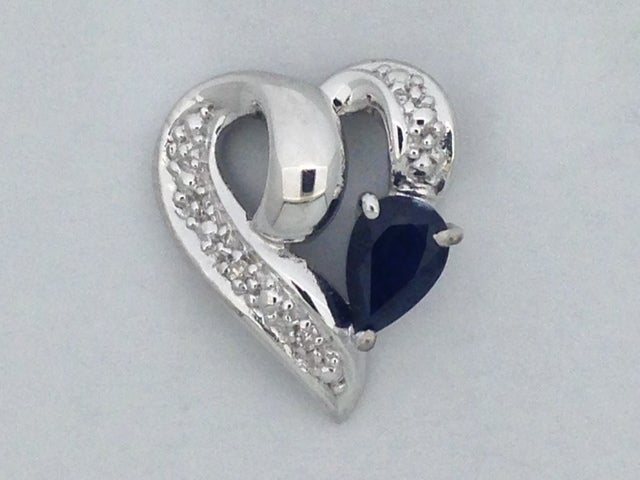 Natural Sapphire with Natural Diamond Heart Pendant 925 Sterling Silver