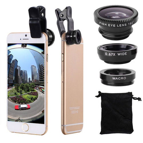 Universal Clip-on 180 degree 3 in 1 Fisheye+Wide Angle+Macro Camera Lens for iPhone Samsung Sony