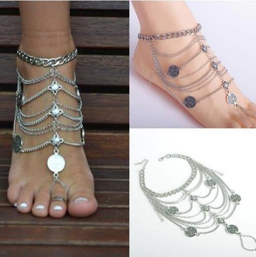 Newest Women Alloy Anklets Chain Lady Barefoot Sandals anklet Adjustable Foot Chain Bohemian retro coin Pendant tassel Ankle Bracelet (one item)