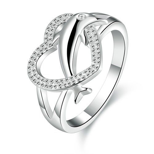 Hollow Heart Dolphin Ring Silver Plated Wedding Bands Engagement Gift Fashion Jewelry Sets For Women Lady R708-8