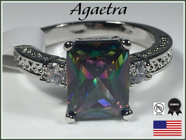 Rainbow Topaz with White Topaz in Gold Overlay. Size 7,8 or 9 only please.