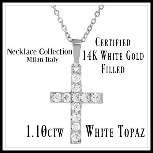 "Beautifully Created Fine White Topaz Cross 18"" Long Necklace sm947"