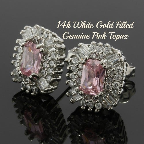 14k White Gold Filled, Beautifully Created Fine Pink & White Sapphire Stud Earrings sm9267