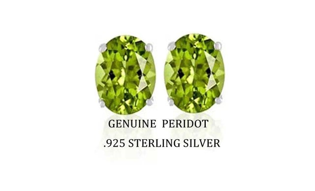 2.00 CTTW .925 Sterling Silver Genuine Oval 7x5 Peridot Stud Earings