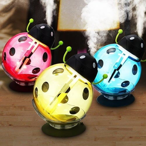 LuckyFine 5V 2W Beetles Ladybug Aroma LED Light USB Humidifier Air Diffuser Essential Oil Aromatherapy Purifier Car Office Home Gifts