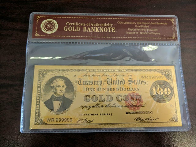 Limited 99.9% 24k Gold Foil Polymer Collectors 1882 US $100 with Certificate of Authenticity