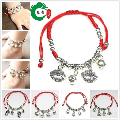 Hand woven Baby Red String Bracelet Anklet year of fate and folk style China Style Bracelet Anklet