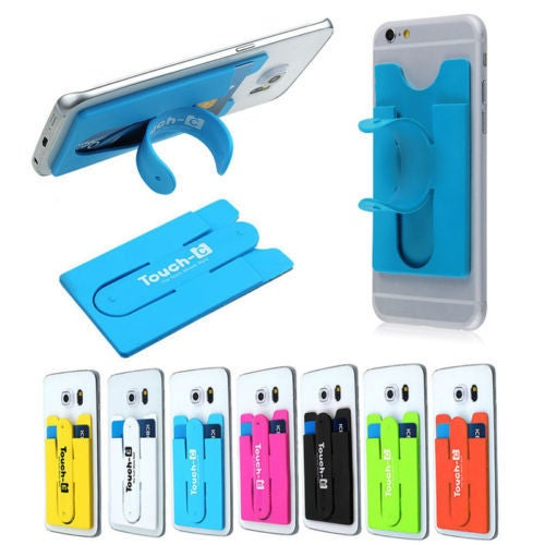 Touch-C One-touch Credit Card Pouch Silicone Kickstand Holder Stand for Smart Phone iPhone Samsung