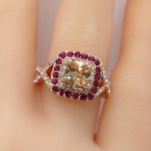 RGP Princess Cut Champagne CZ Ring #933
