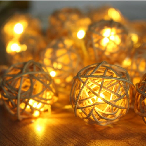 1m 10 Rattan Ball Led string light christmas garden holiday pendant Garland Wedding decoration fairy lights party