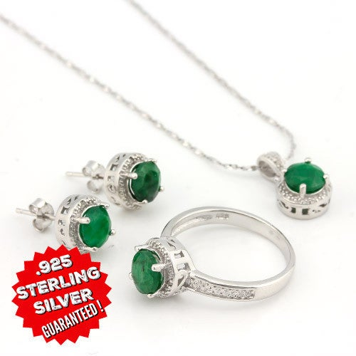 .925 Silver 4.47ct. Emerald & Genuine Diamond Necklace, Earrings & Ring Set