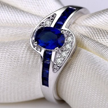 Jewelry Blue Engagement Women Wedding Ring