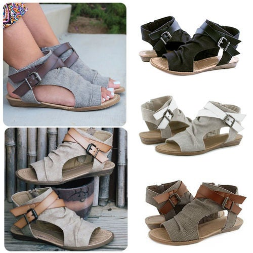 Womens Retro Espadrille Slouch Slingback Cross Bandage Casual Sandals Shoes Size