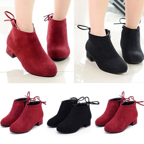 Fashion Kids Girls Low Block Heels Ankle Lace Up Boots Zipper Child Suede Shoes