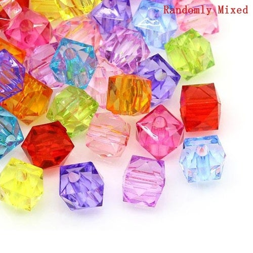 8 mm x 8 mm 9 Color Available Home Crafts Cube Acrylic Spacer Beads Good For DIY Bracelets Color At Random 300 PCs