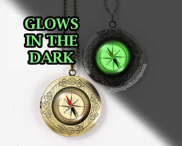 Compass World map travel Necklace glow in the dark bronze silver vintage locket illuminate glowing holiday homesweethome whimsical traveller