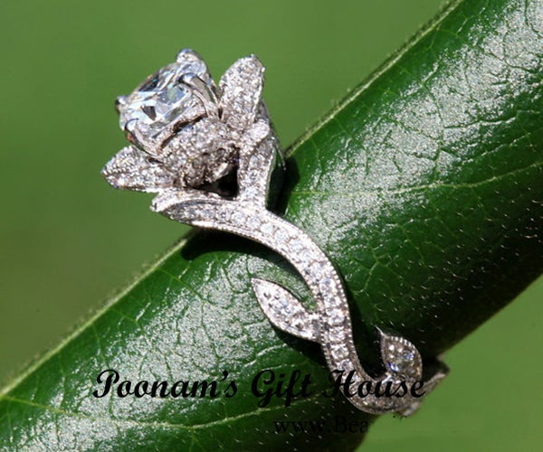 Blooming 2.0 Ct Rose Flower CZ EngagementRing