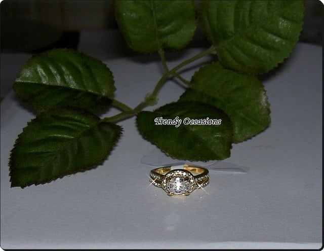 Italian 18K Rose Gold Plated Oval Crystal Offset Champagne Plated CZ Top Quality Ring