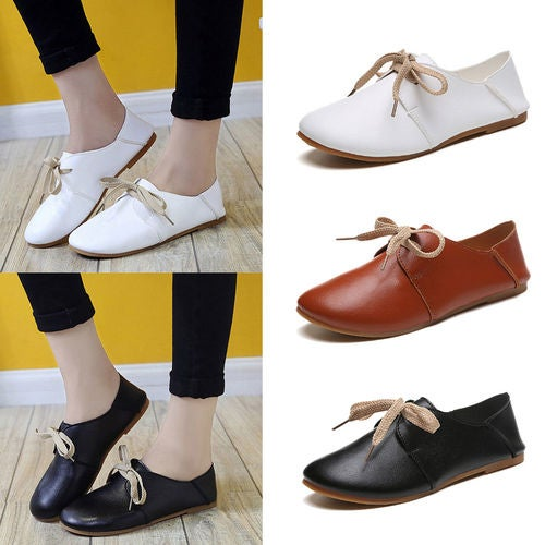 New Women Leather Lace Up Pointed Toe Comfort Flat Casual Oxford Walking Shoes