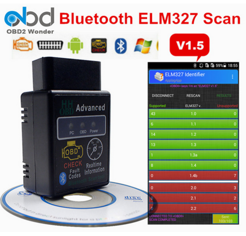 Small Bluetooth OBD2 OBDII CAN BUS Check Engine Car Auto Diagnostic Scanner Tool Interface Adapter For Android PC ELM327 Latest V1.5