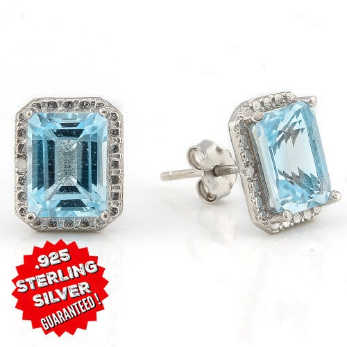 Solid .925 Silver 3.85CT Genuine Sky Blue Topaz & Diamond 18K White Gold Filled Earrings. SSIL8044