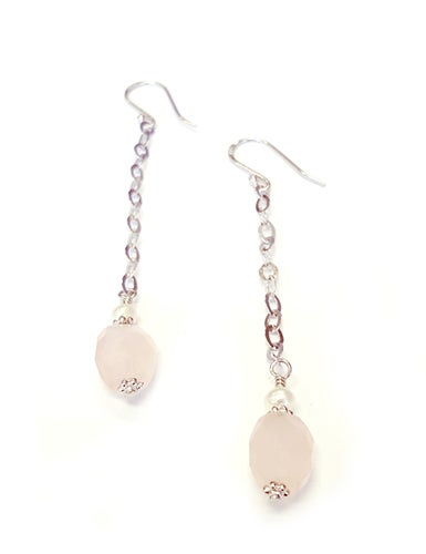 Rose Quartz with Genuine Freshwater Pearl Earrings