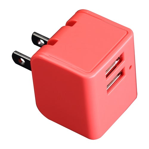 12W Dual USB AC Travel wall charger Adapter with foldable wall prong, Red