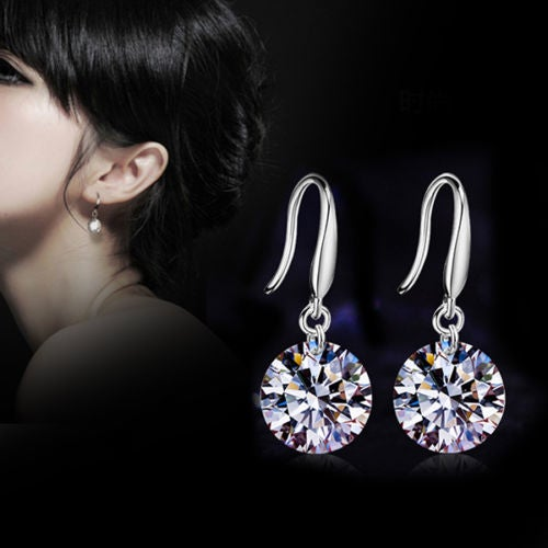 Beautiful Timeless 14K White Gold Plated Crystal Earrings