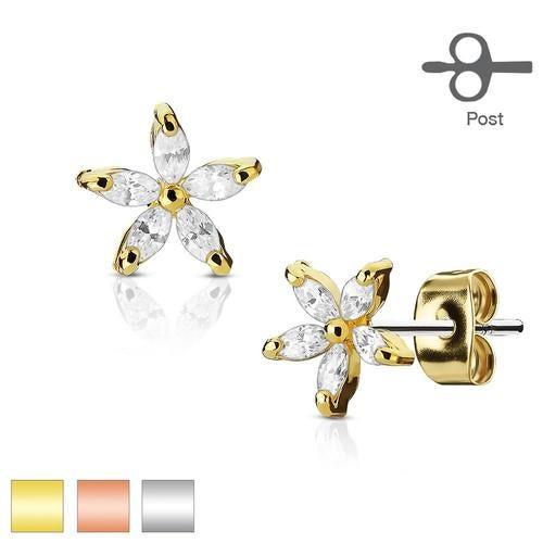 Pair of 5 Marquise CZ Petal Flower 316L Surgical Steel Post Earring Studs