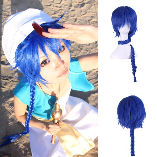 The new blue warped Magic Flute MAGI- Sinbad, cosplay anime wig