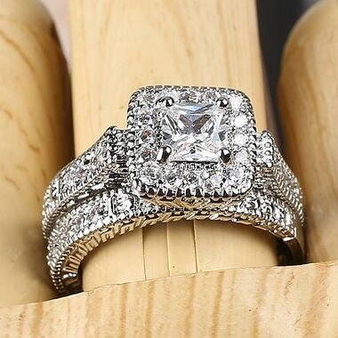 Jewelry High Quality White Cz Wedding Ring Set E28