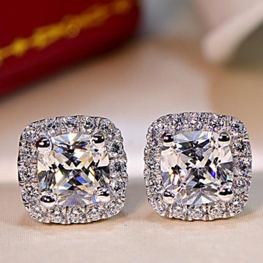 Luxury Shinning 2ct clear high class crystal Stud Earrring in White Gold Filled